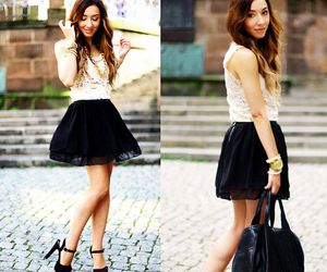 class, black skater skirt, and fashion image