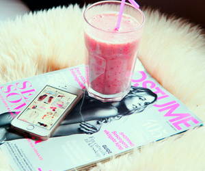 magazine, iphone, and smoothie image