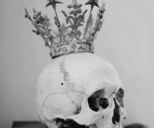 black&white, skull, and crown image