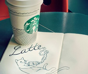 latte, starbucks, and coffee image