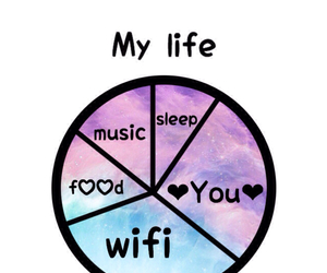 food, sleep, and music image