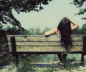 girl, hair, and bench image