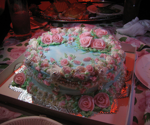 cake, pink, and roses image
