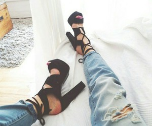 heels, jeans, and fashion image