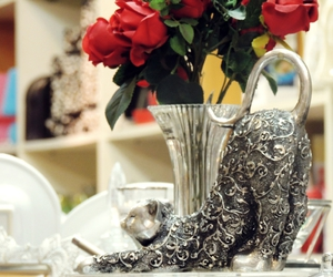 cat, decor, and silver image