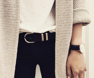 belt, cardigan, and casual image