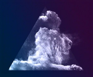 lion, triangle, and clouds image