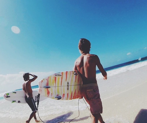 beach, summer, and surfing image