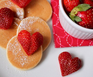 strawberry, fruit, and pancakes image