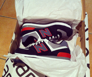 black, new balance, and red image