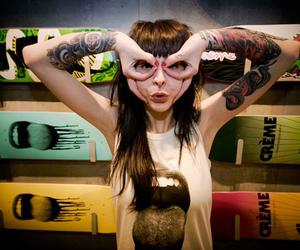 tattoo, girl, and skateboard image