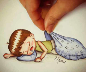 drawing, art, and sleep image