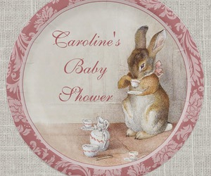 baby shower favors, rabbits, and beatrix potter image