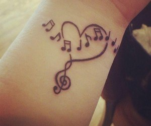 tattoo, music, and heart image