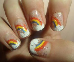 rainbow, clouds, and glitter image