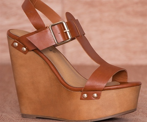 tan, platform wedge sandals, and buckled ankle strap image