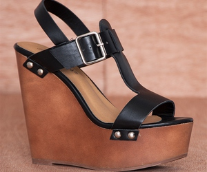 black, platform wedge sandals, and buckled ankle strap image