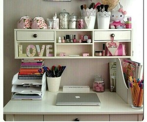 room, desk, and girly image