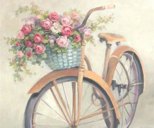 vintage, bike, and flowers image