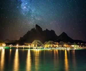 bora bora, night, and stars image