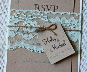 lace, mint, and wedding invitation image