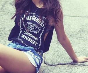girl, jack daniels, and shorts image