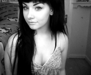 black hair, long, and pretty image