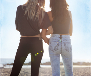 beach, blonde, and brunette image