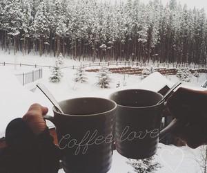 coffee, snow, and love image
