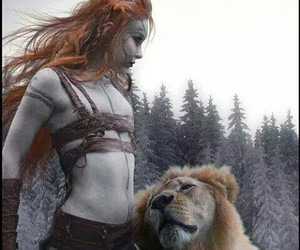 girl, lion, and friends image