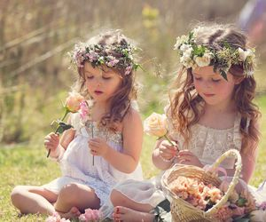 flowers, girls, and fairy crowns image