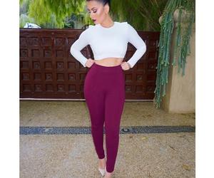 long sleeve, crop top, and dress pants image