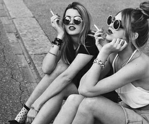 beautiful, black and white, and cigarette image