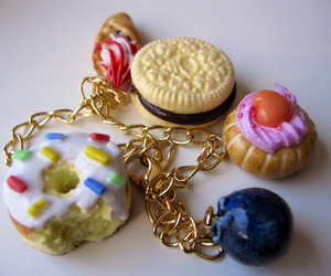 donut, gold, and ice cream image