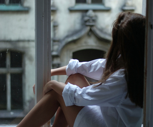 girl, window, and white image