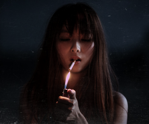 cigarette, girl, and night image