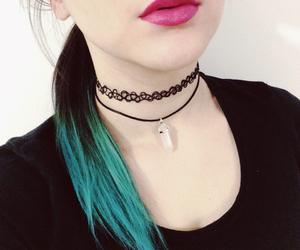 blue hair, choker, and girl image