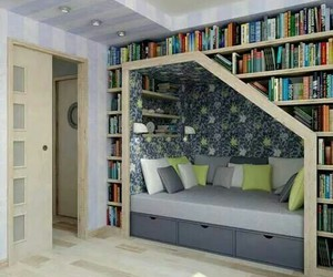 house decoration, decor, and built in bed image
