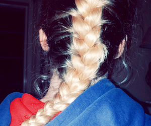 braid, ombre, and blond braid image
