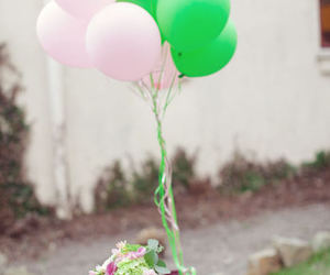 balloons, book, and flowers image