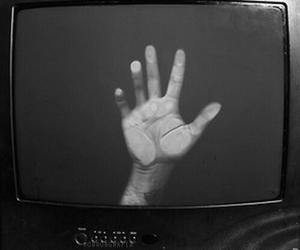 hand, tv, and grunge image