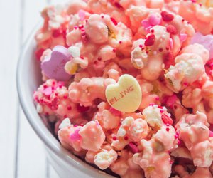 pink, popcorn, and Valentine's Day image