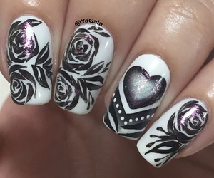 nails, girl, and roses image