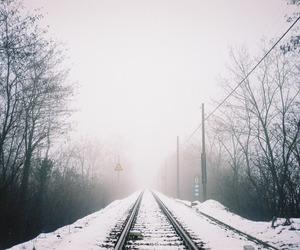 snow, tree, and train image