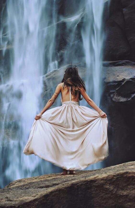 dress, girl, and waterfall image