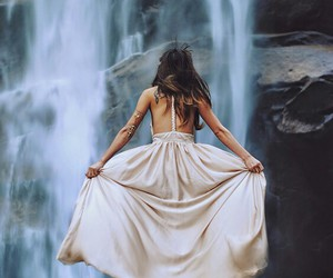 dress, girl, and waterfall image