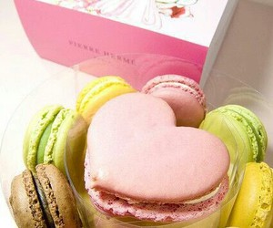 food, macaroons, and heart image
