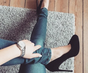blue jeans, girly, and long nails image