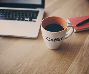 coffee, cup, and laptop image
