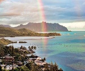 rainbow, beach, and sea image